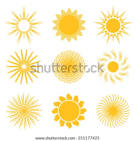 Sun icon set. Abstract and unusual sun icons. Vector illustration. - stock vector