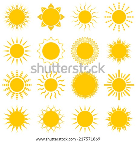Sun icon set on white background. Vector Illustration - stock vector