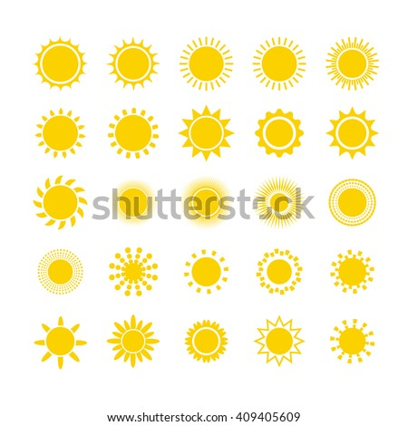 Sun icon set. Star logo icon. For summer, nature, sky, summer. Sun silhouette. Isolated vector illustration.