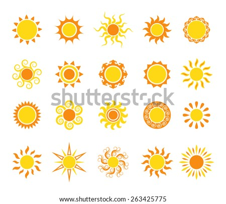 Sun icon set, vector illustration - stock vector