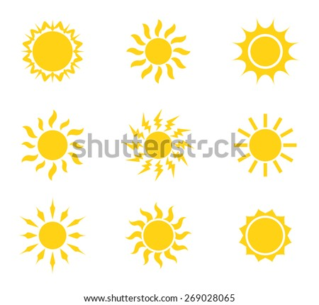 Sun icon set. Vector illustration - stock vector