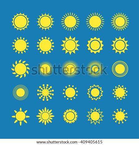 Sun icon with shadow set, vector illustration on blue background. Sun star, summer, nature, sky, summer. Sunshine sun logo. Sun icon. Sun logo.Star sun silhouette. Sun isolated vector logo, sun logo - stock vector