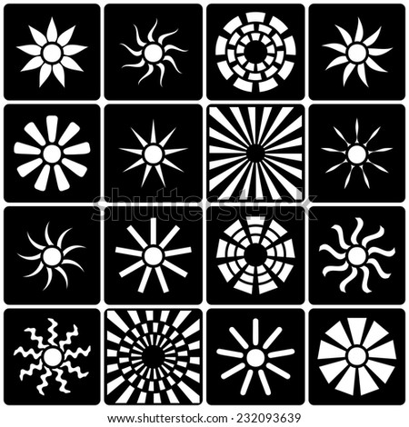 Sun icons collection. Black and white version. Vector illustration - stock vector