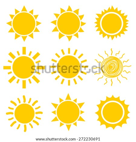 Sun icons collection. Vector - stock vector