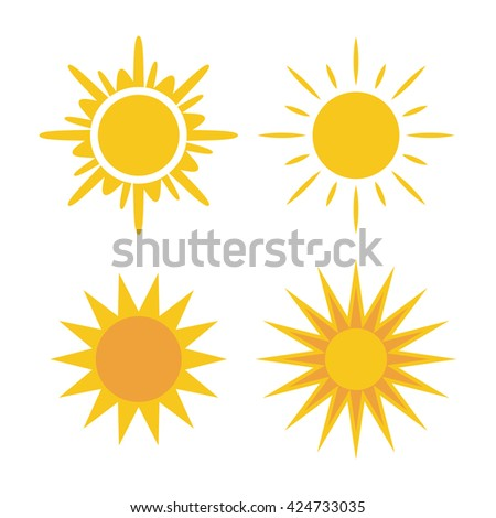Sun icons set. Collection light yellow signs with sunbeam. Design elements, isolated on white background. Symbol of sunrise, heat, sunny and sunset, morning, sunlight. Flat style. Vector Illustration. - stock vector