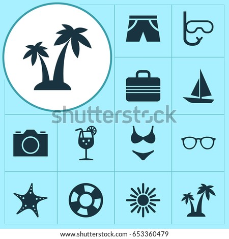 Sun Icons Set. Collection Of Trees, Smelting, Sea Star And Other Elements. Also Includes Symbols Such As Cocos, Photo, Palms.