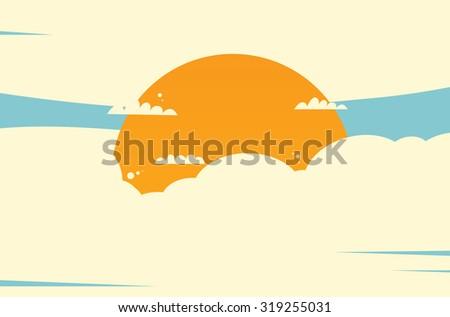 Sun in cloud - stock vector