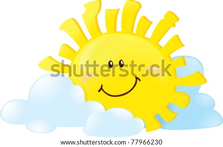 Sun in clouds - stock vector