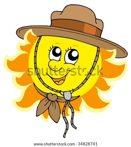 Sun in scout hat - vector illustration.