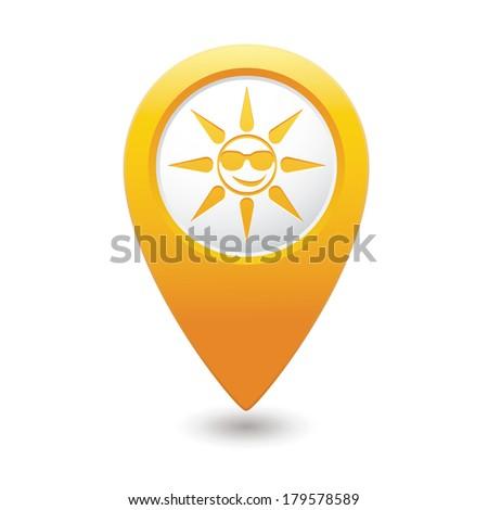 Sun in sunglasses icon on map pointer, vector illustration. - stock vector
