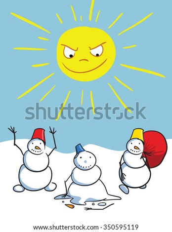 Sun kill snowmen - stock vector