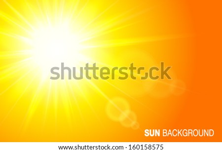 Sun landscape background, vector illustration.