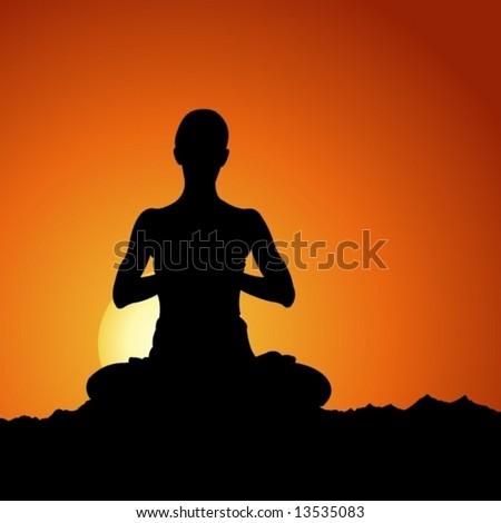 Sun Meditation - stock vector