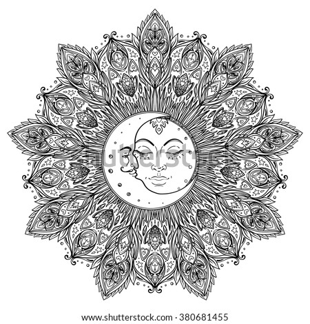 Sun Moon symbols as a face inside ornate mandala. Round pattern. Vintage decorative vector illustration isolated on white. Hand drawn. Retro style card design. Coloring book for kids and adult.  - stock vector