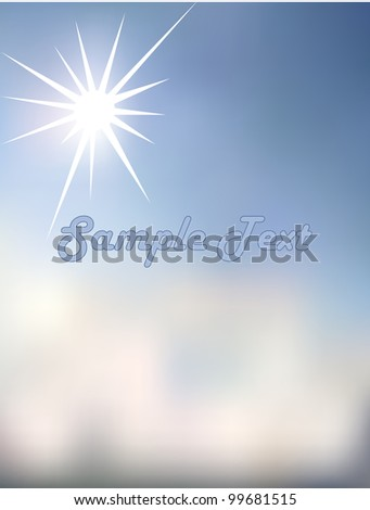 sun of his light shines bright blue sky and the clouds - stock vector