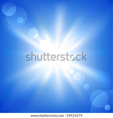 Sun on a blue sky. Vector illustration - stock vector