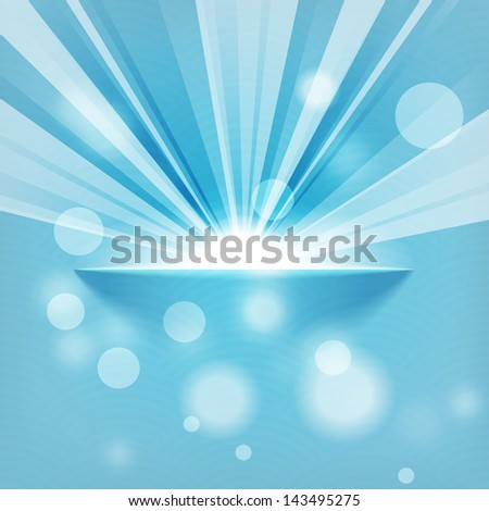 sun on blue background with copy space - stock vector