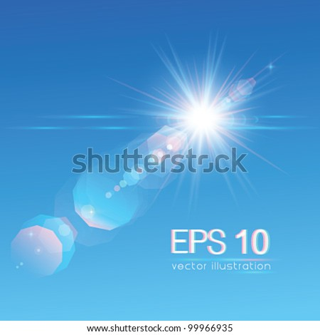 Sun on blue sky with lenses flare - vector illustration. - stock vector