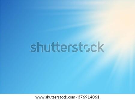 Sun on sky with vector illustration. - stock vector