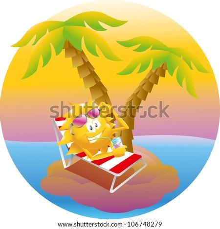 sun on vacation island - stock vector
