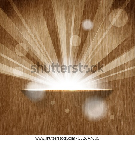 sun on wooden background  with copy space  - stock vector