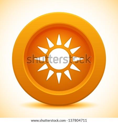 Sun orange button, vector illustration   - stock vector