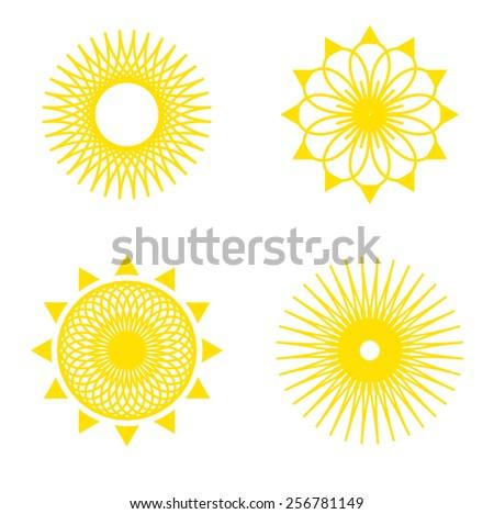sun pattern icon set yellow - stock vector
