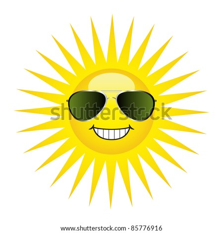 Sun protection concept. A happy sun wearing a pair of aviator sunglasses. - stock vector