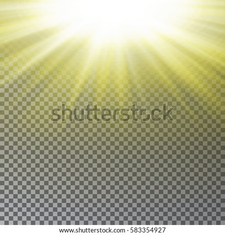 Sun Ray Transparent Effect Realistic Light Vector Glow Sunbeam Isolated On Background Starburst