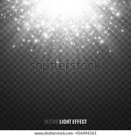 Sun rays, sparkles, flash on transparent background. Flare. Explosion. Glittering lights. Glowing particles. Light effect. Vector illustration. - stock vector