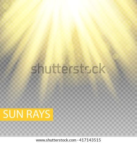 sun rays yellow warm light effect, sun rays, beams on transparent background. Vector illustration. - stock vector