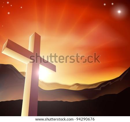 Sun rising behind the Cross over a mountain range. Resurrection Christian Easter concept - stock vector