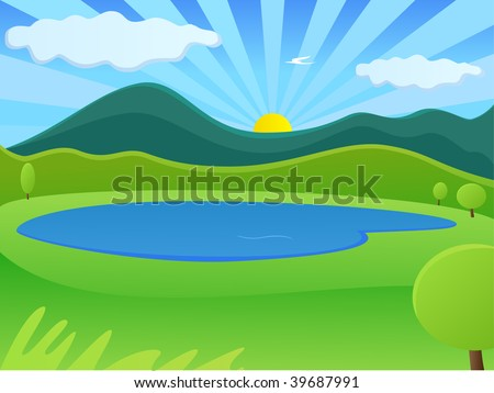 sun rising from behind the mountains over the lake - stock vector