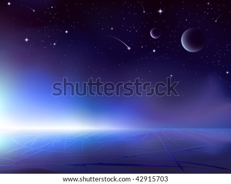 Sun rising over a dark icy planet (other space landscapes are in my gallery) - stock vector