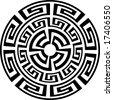 sun - round greek ornament - t-shirt, tattoo design - stock vector