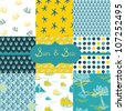 Sun & Sea, Digital Scrapbook Paper - stock vector
