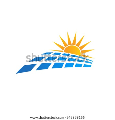 Sun solar panel logo - stock vector