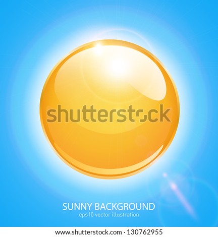 Sun sphere icon with lens flares, vector illustration - stock vector