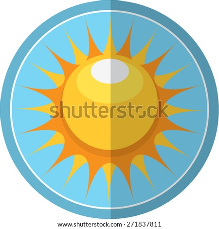 Sun sticker - stock vector