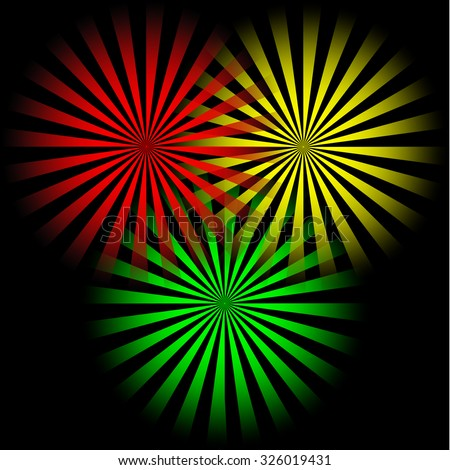 Sun Sunburst pattern vector illustration. Set of three sun burst templates for design. Comics sunlight concept in red, yellow and green colors. Comic background in retro style. Comic vector wallpaper. - stock vector