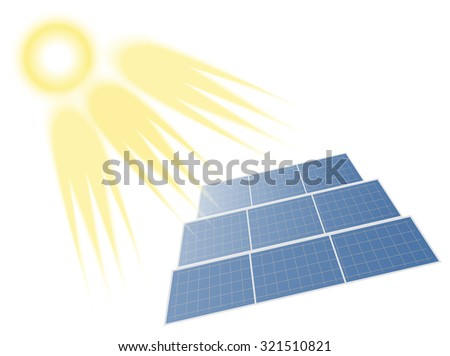 Sun Supplying Solar Energy to the Batteries. Isolated on White - stock vector