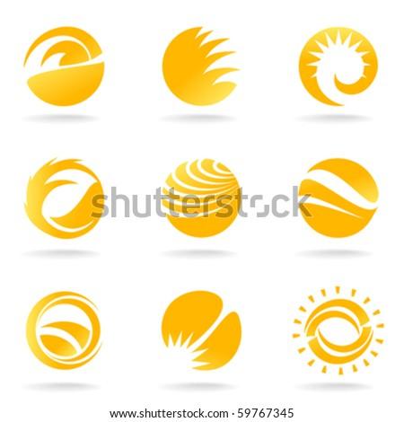 sun symbols - stock vector