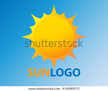 Sun vector icon sol sunshine yellow color on blue background. Isolated flat burst element sunlight. Illustration weather symbol design for web and app.