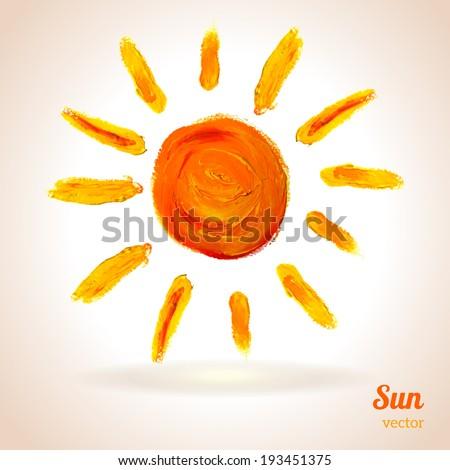 Sun. Vector illustration. Imitation of child's drawing. School theme. - stock vector