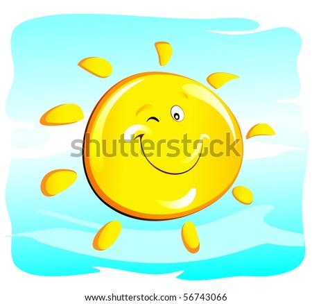 sun (winking) - stock vector