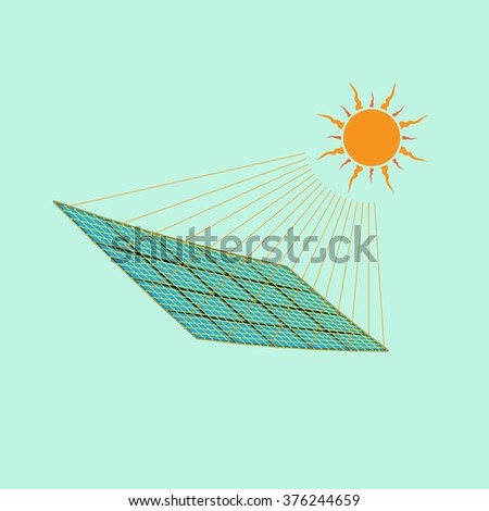 Sun with a electric solar panel. Renewable, regenerative, green energy concept. Vector illustration. - stock vector