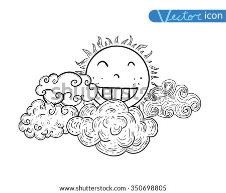 Sun with clouds Doodle Hand Drawn Collection. - stock vector