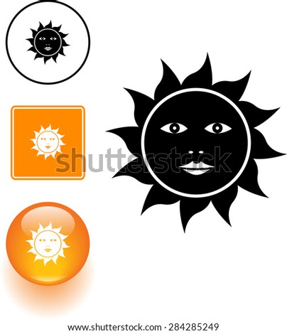 sun with face symbol sign and button - stock vector