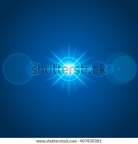 Sun with lens flare lights template and vector background. Special Effect Glowing Rays. Good for promotion materials, Brochures, Banners. Abstract Backdrop. - stock vector
