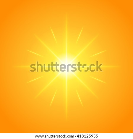Sun with lens flare lights template and vector background. Sunrise or Sunset Special Effect Glowing Rays. Good for promotion materials, Brochures, Banners. Abstract Backdrop.